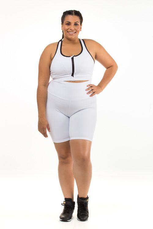 Bermuda Plus Size Branca Emana
