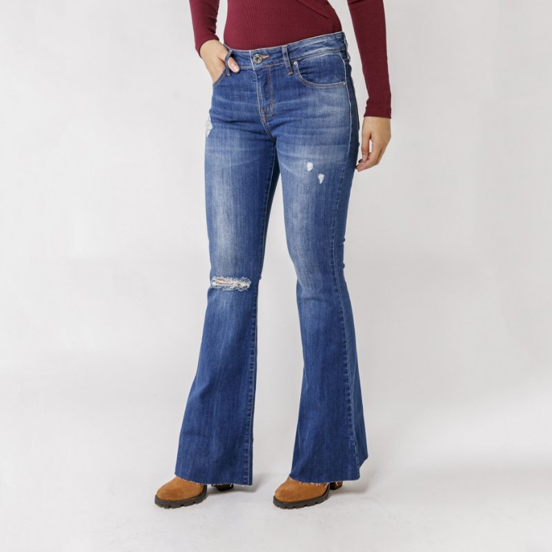 FLARE JEANS BARRA A FIO