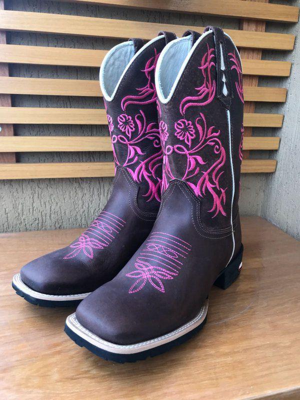 bota texana country feminina montaria cano médio rosa bico redondo ... fd7173f7657