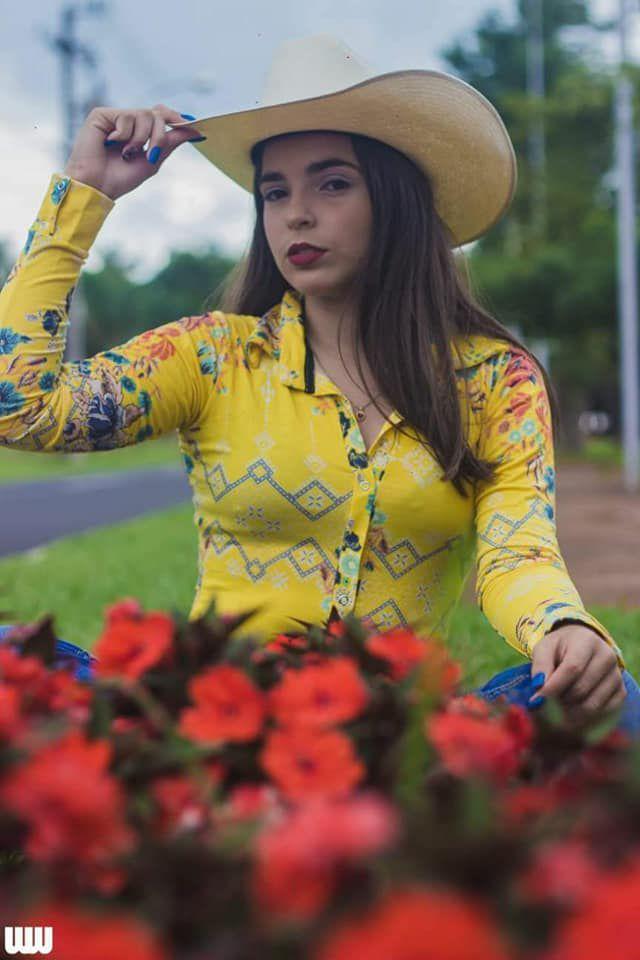 0710b1ec32 Body Country Feminino Cowgirl Manga Curta Estampados Modelos ...