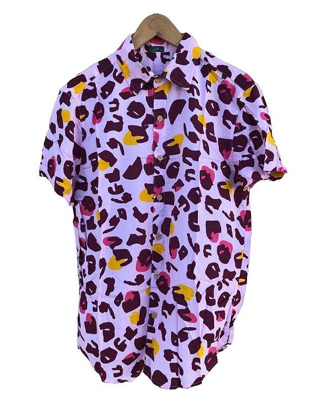 camisa animal print rosa