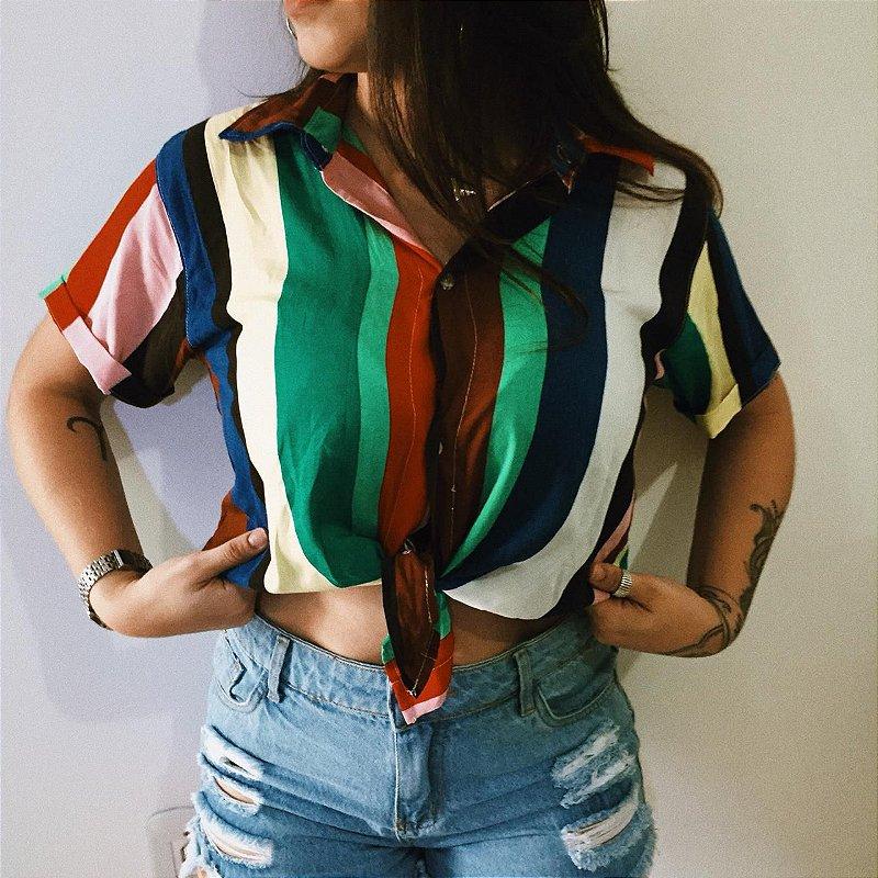 Camisa listras coloridas