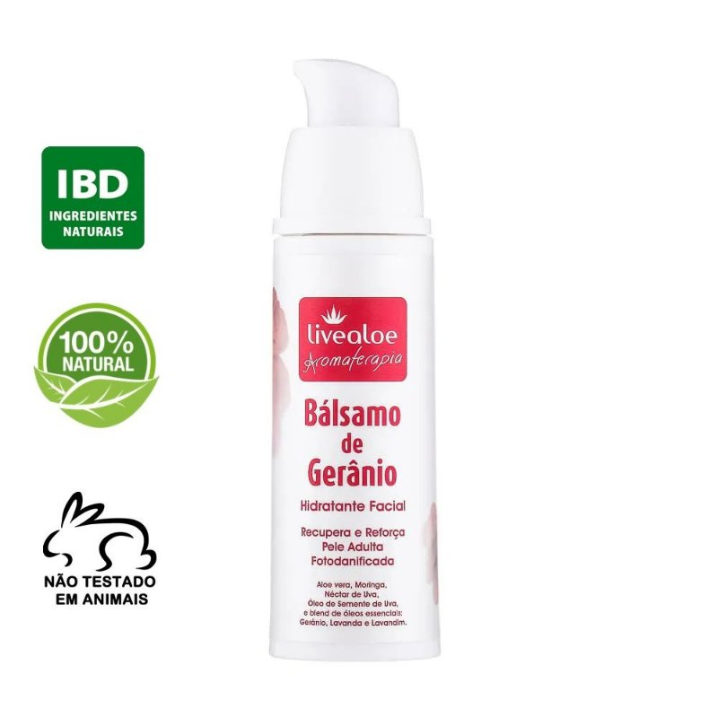 Bálsamo Facial Natural de Gerânio 30ml – Livealoe