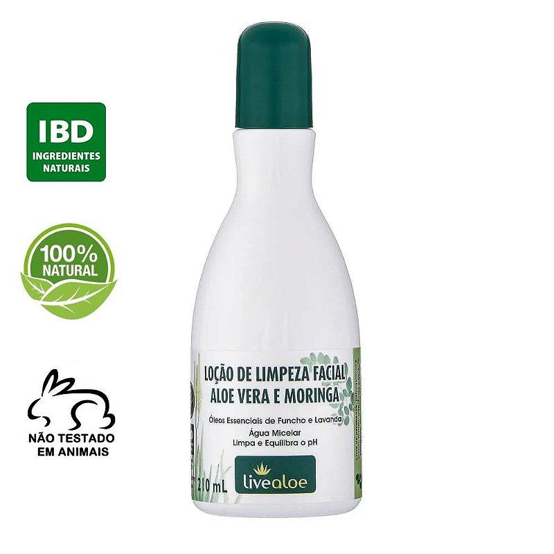 Loção de Limpeza Facial Natural Aloe Vera e Moringa 210ml – Livealoe
