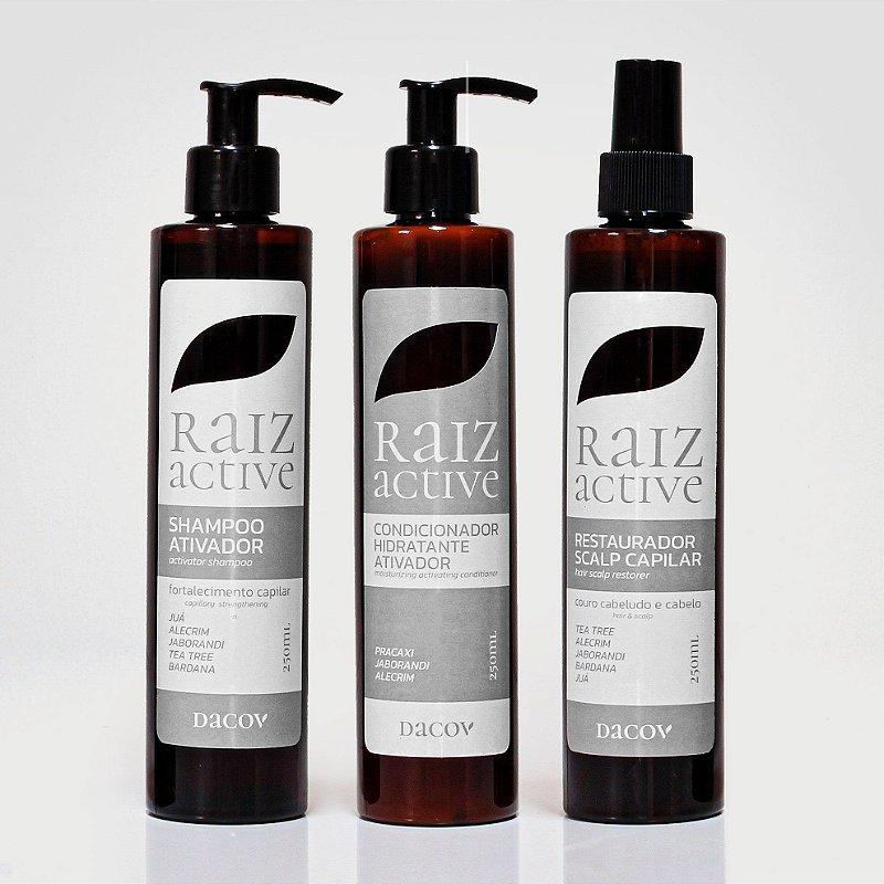 Kit  Raiz Active Antiqueda Crescimento Capilar (Shampoo 250ml + Restaurador 250ml + Condicionador Ativador Hidratante 250ml )
