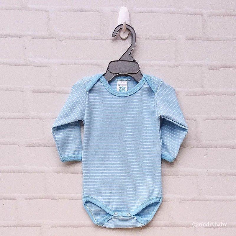 Body Listras Azul Bebê  Longa