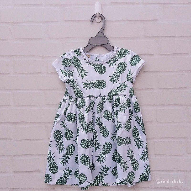 Vestido Estampado Abacaxi Verde