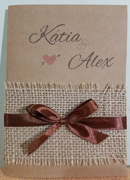 Convite Casamento Rustico Papel Kraft Atelie Da Lola