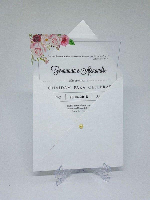 Convite Casamento Floral Papel Vegetal Atelie Da Lola Conviteria