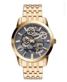 Relógio Technos Masculino Dourado Automático 8205NQ 4A - Perolashop f9a8c4df7f