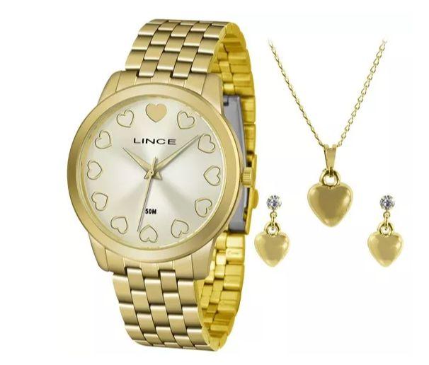 83845eba38c Relógio Lince Feminino Lrgh093lkv72 +Kit Semijóias - Perolashop