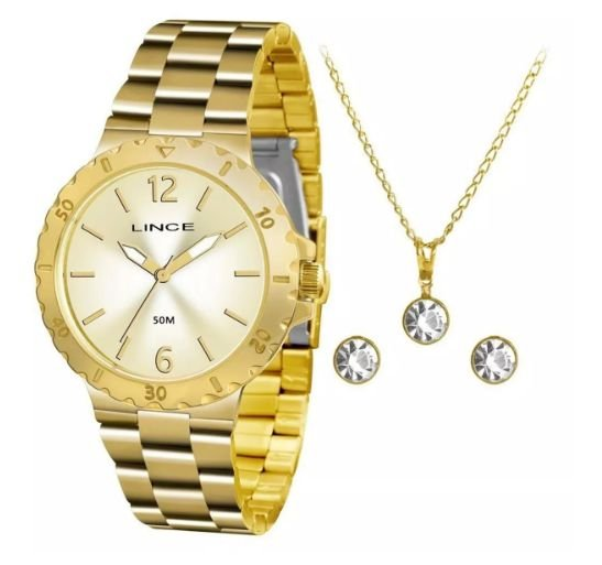 31c20e31605 Relógio Lince Feminino Dourado Lrgh036l Kt96 + Kit Semijóias ...