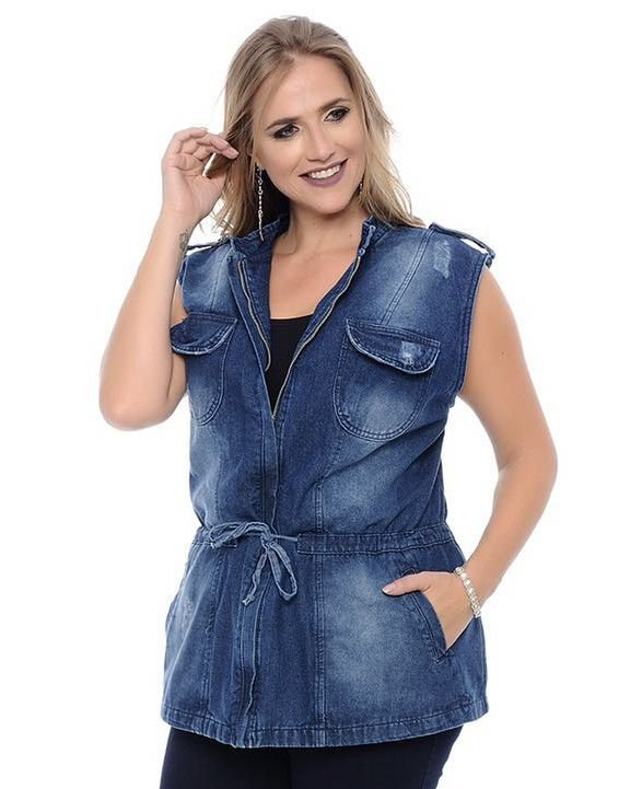 Colete Parka Jeans Plus Size Feminino Puidos