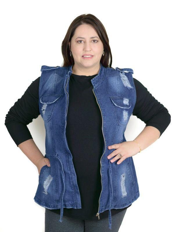 Colete Parka Jeans Plus Size Feminina Destroyed