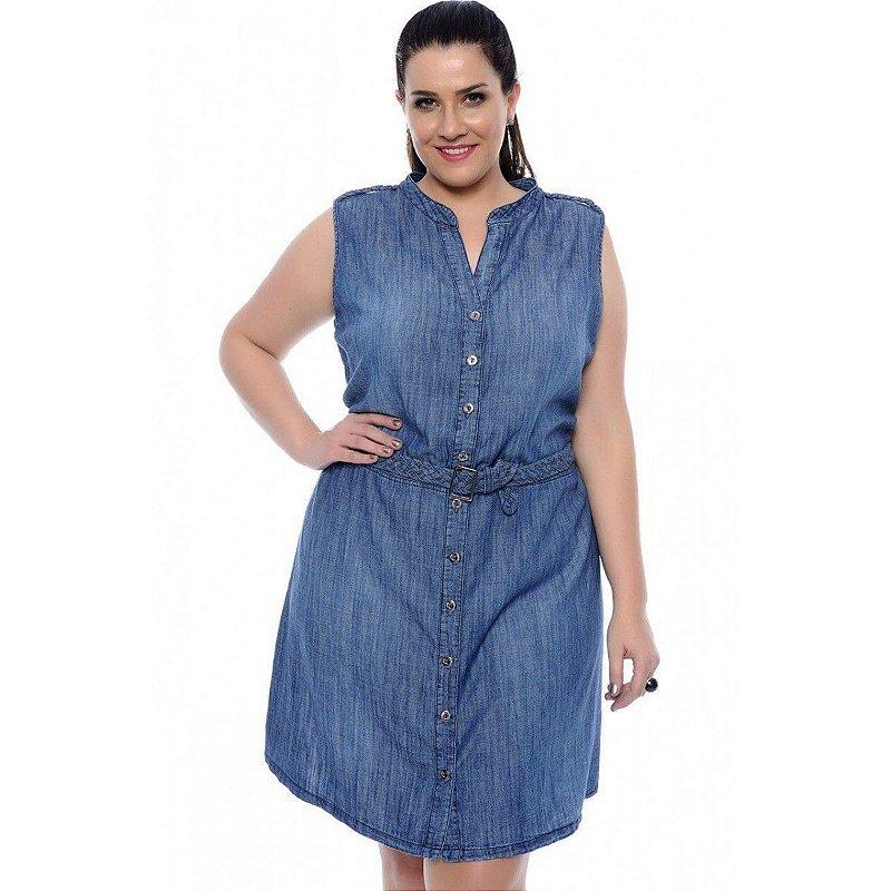 Vestido Jeans Plus Size Feminino Atena
