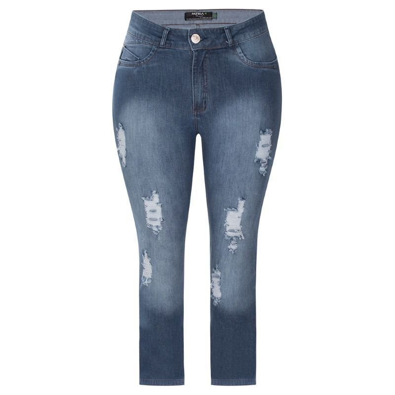 Calça Jeans Plus Size Feminina Cigarrete Destroyed
