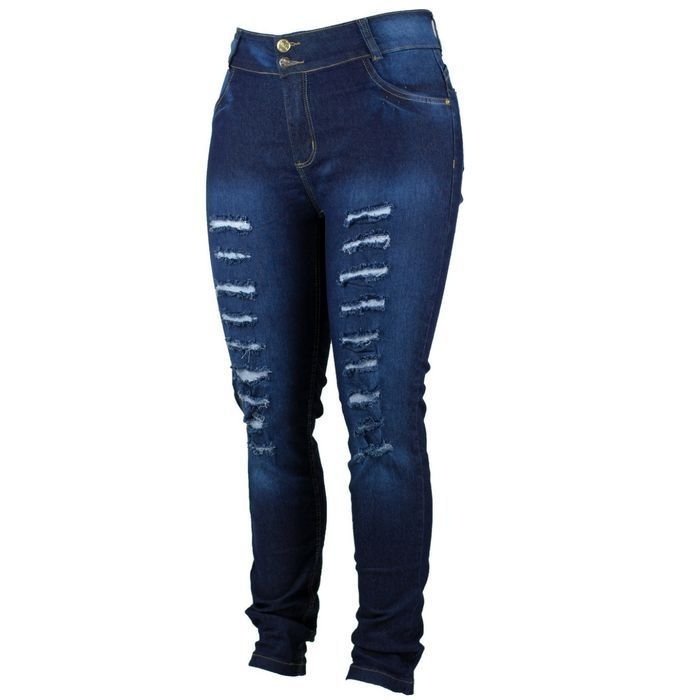 Calça Jeans Feminina Plus Size  Destroyed Cheris