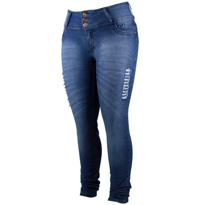 Calça Jeans Plus Size Feminina com Puidos