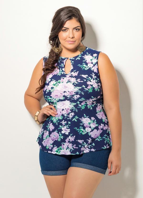 Blusa Feminina Plus Size Peplum Floral