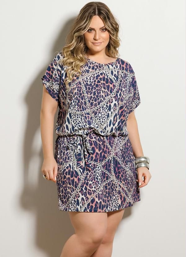 Vestido Plus Size Curto Estampa Animal Print