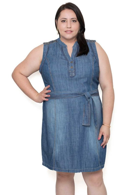 Vestido Jeans Plus SizePedraria