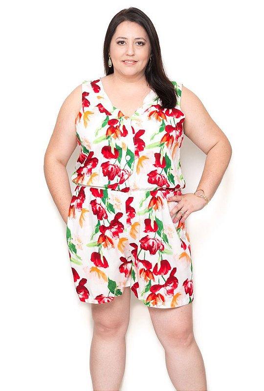 0ade8188d Macaquinho Plus Size Floral