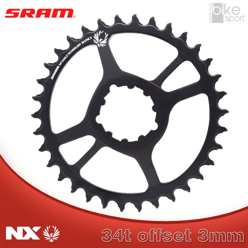 COROA SRAM NX EAGLE) DIRECT MOUNT 34T 3MM OFFSET PRETA