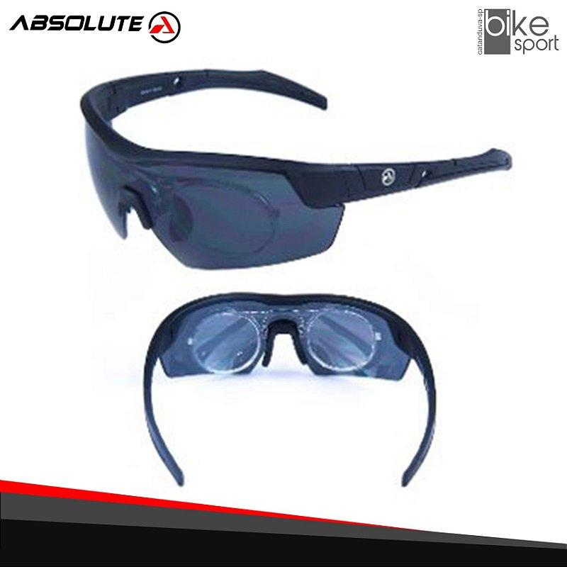 Oculos Ciclismo Absolute Race RX Preto Lente Cinza c/ Clip