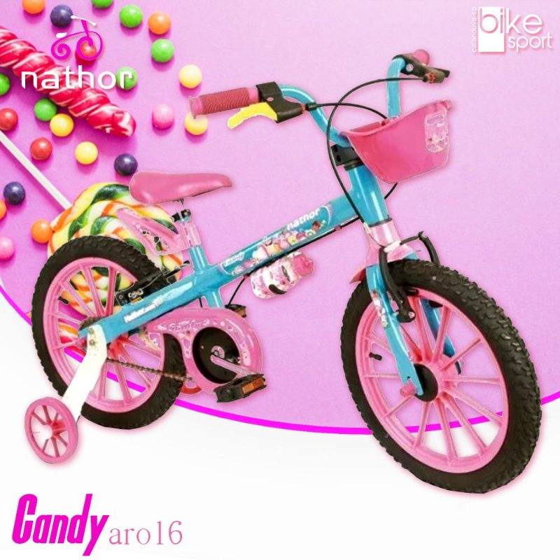 Bicicleta Aro 16 Candy Azul e Rosa com Cesta