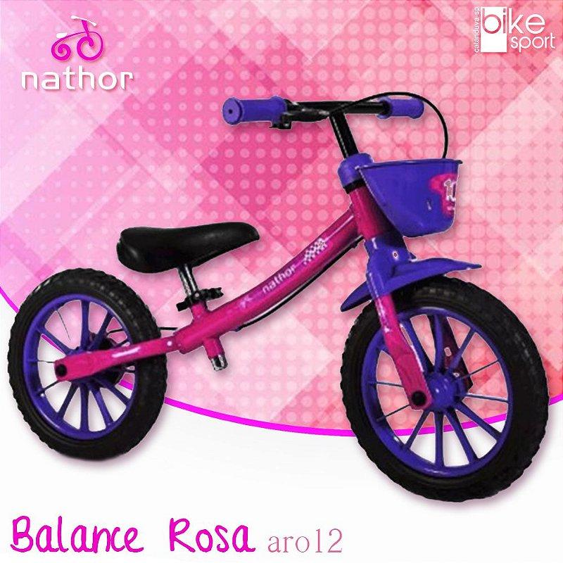 Bicicleta Balance Rosa e Roxo com Cesta