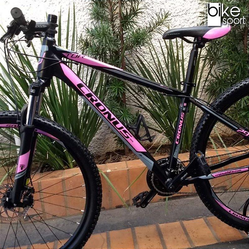 Bicicleta Cronus Preta e Rosa 24V Tamanho 17 Aro 29