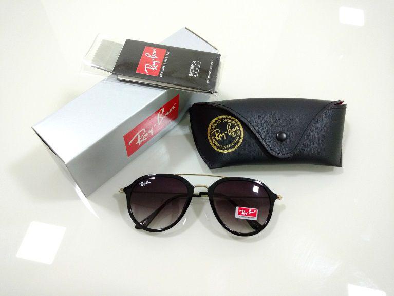2435f3d18 Óculos de Sol Aviador Ray-ban 4253 Lançamento Preto Brilho Degradê Masculino  e Feminino
