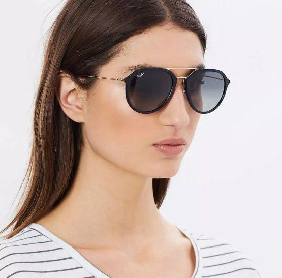 39fb34db97e9d Óculos de Sol Aviador Ray-ban 4253 Lançamento Preto Brilho Degradê  Masculino e Feminino