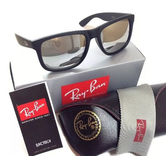 Óculos de Sol Ray-Ban Justin 4165 Espelhado Prata Masculino e Feminino f9b1f915cc