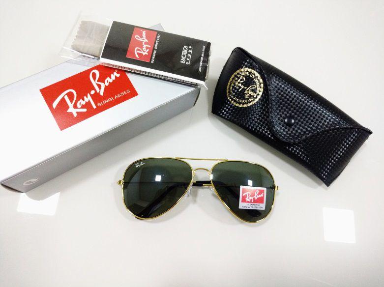 8d1f24dfd Óculos de Sol Aviador Ray-Ban 3026 Metal Dourado Lente Verde Clássico  Masculino e Feminino