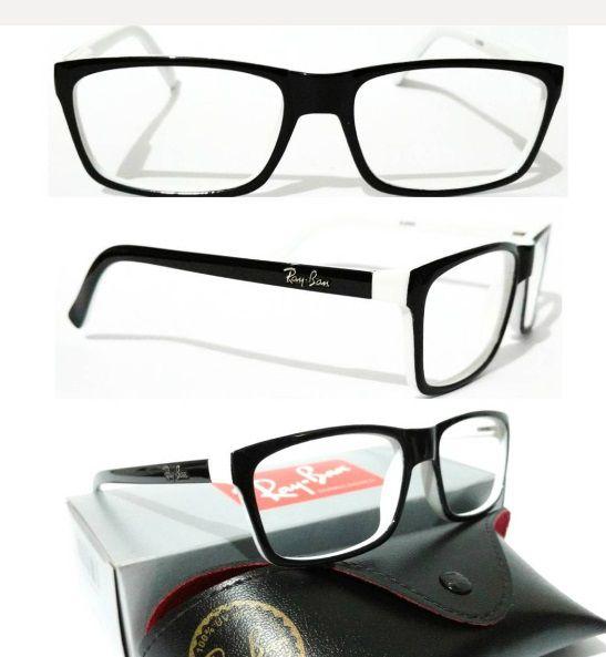 9f92763ddef98 Armação para Óculos de Grau Ray Ban Preto e Branco Masculino e Feminino