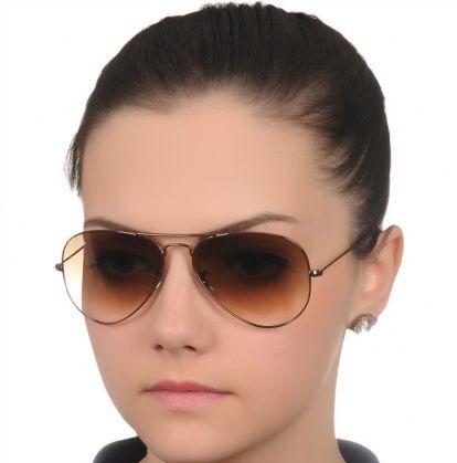 1474fae18 Óculos de Sol Ray-Ban 3026 Aviador Marrom Degradê Cobre Feminino e Masculino
