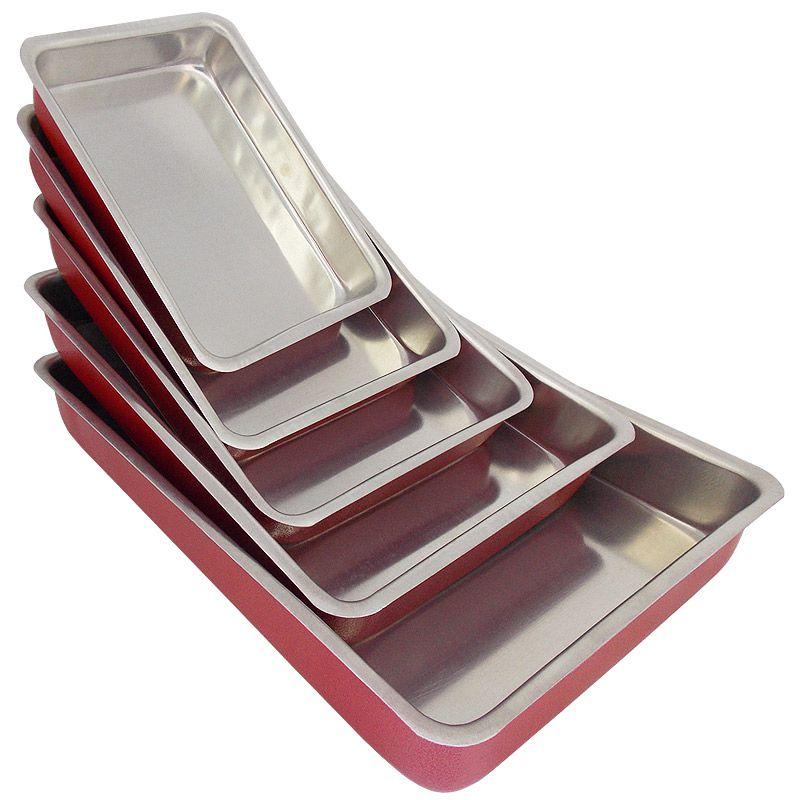 Conjunto 5 Assadeiras de Alumínio Retangular (Fôrma) - Vermelho