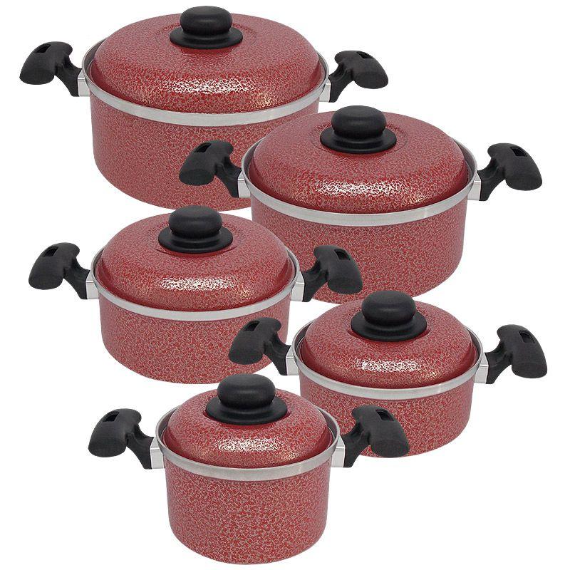 Jogo de Panelas de Alumínio com 5 Peças - Vermelho (Luxo)