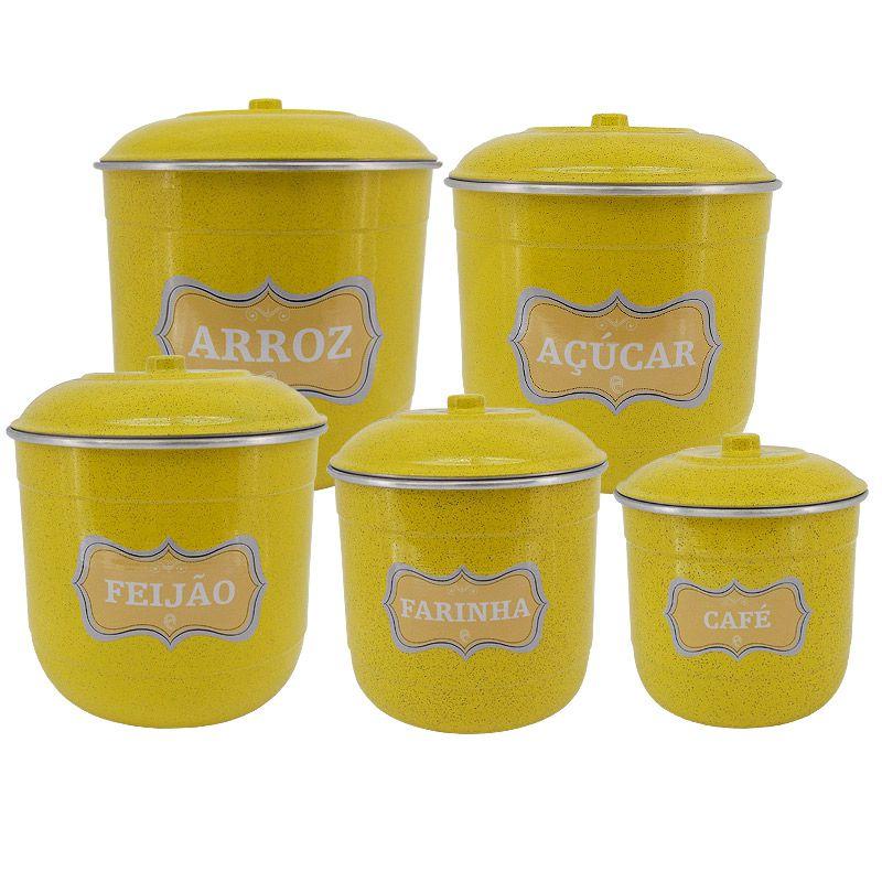 Conjunto Porta Mantimentos com 5 Peças (Kit Mantimentos) - Amarelo