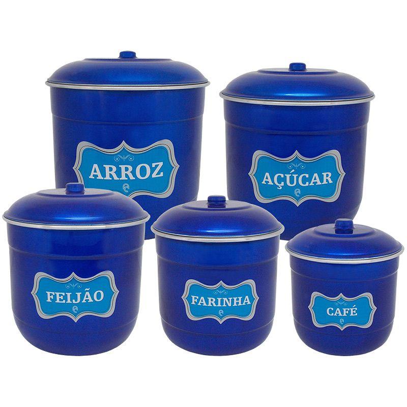 Conjunto Porta Mantimentos com 5 Peças (Kit Mantimentos) - Azul Verniz