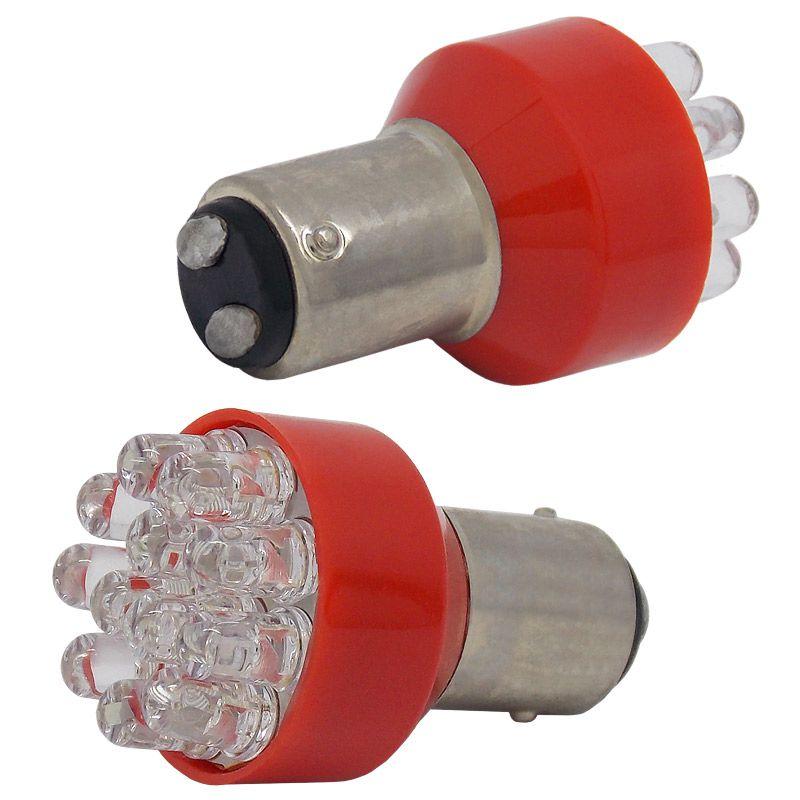 Lâmpada de Freio 12V com 2 Polos 12 LED - Vermelho (2 Unidades)