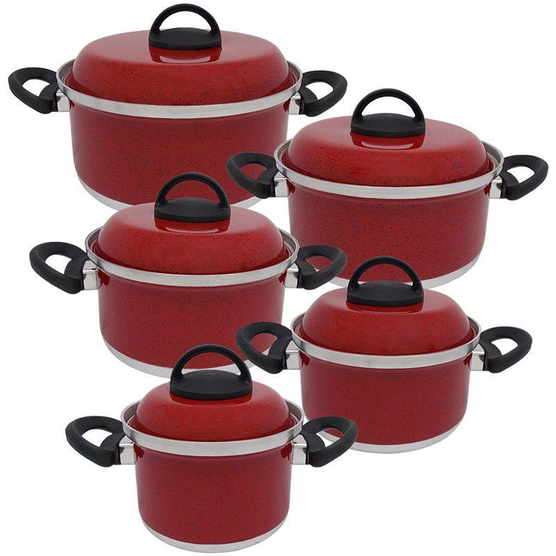 Jogo de Panela de Alumínio com Tampa de Alumínio 5 Peças Koup - Vermelho