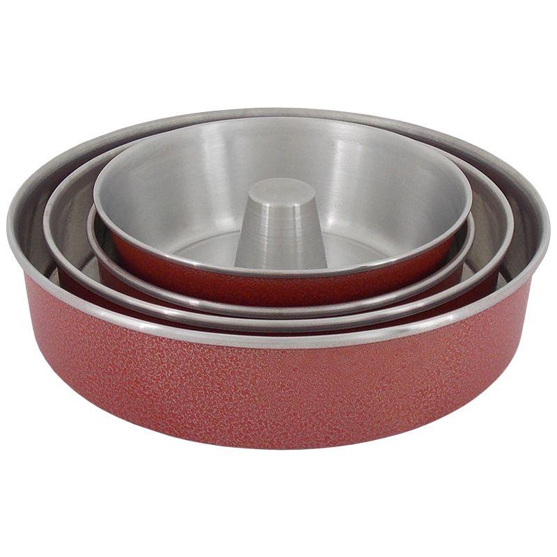 Conjunto 3 Assadeiras de Alumínio Redondo com Fôrma de Pudim - Vermelho