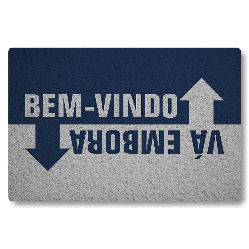 Tapete Personalizado Bem vindo Vá Embora - Azul Marinho