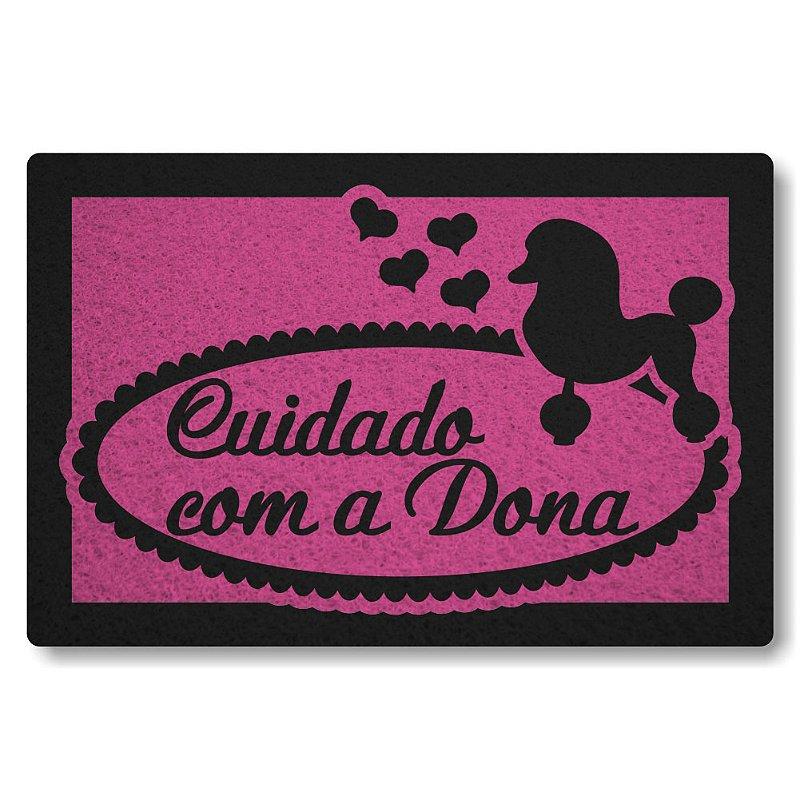 Tapete Personalizado Cuidado com a Dona Poodle - Rosa Pink