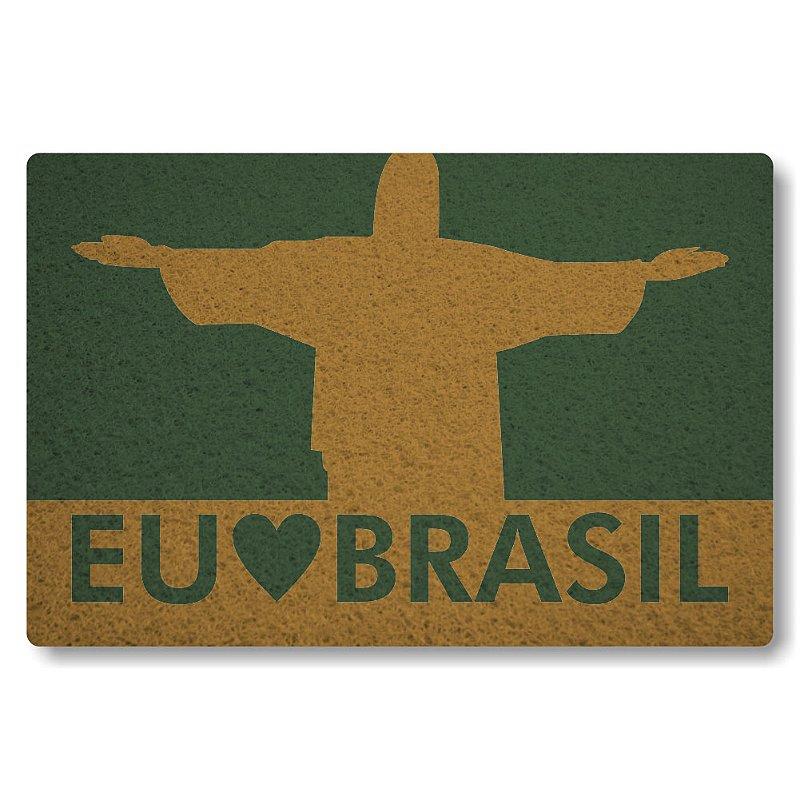 Tapete Personalizado Eu Amo o Brasil - Verde Musgo