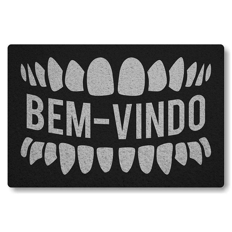 Tapete Personalizado Dentes Bem Vindo - Preto