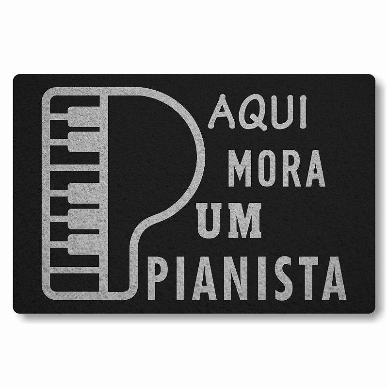 Tapete Personalizado Aqui Mora um Pianista - Preto