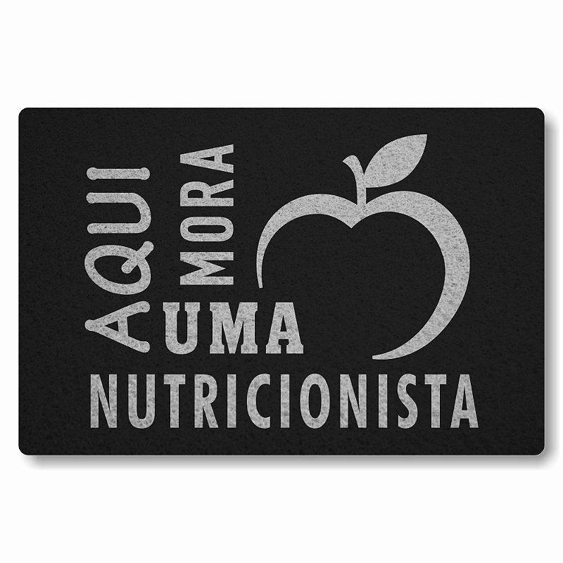 Tapete Personalizado Aqui Mora uma Nutricionista - Preto